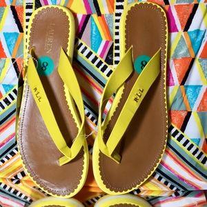 ✨ Ralph Lauren Yellow Flip Flops NWT 👠